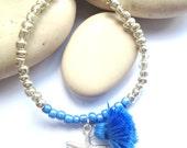 Tassel Bracelet - Starfish Jewelry - Blue and Silver Bracelet