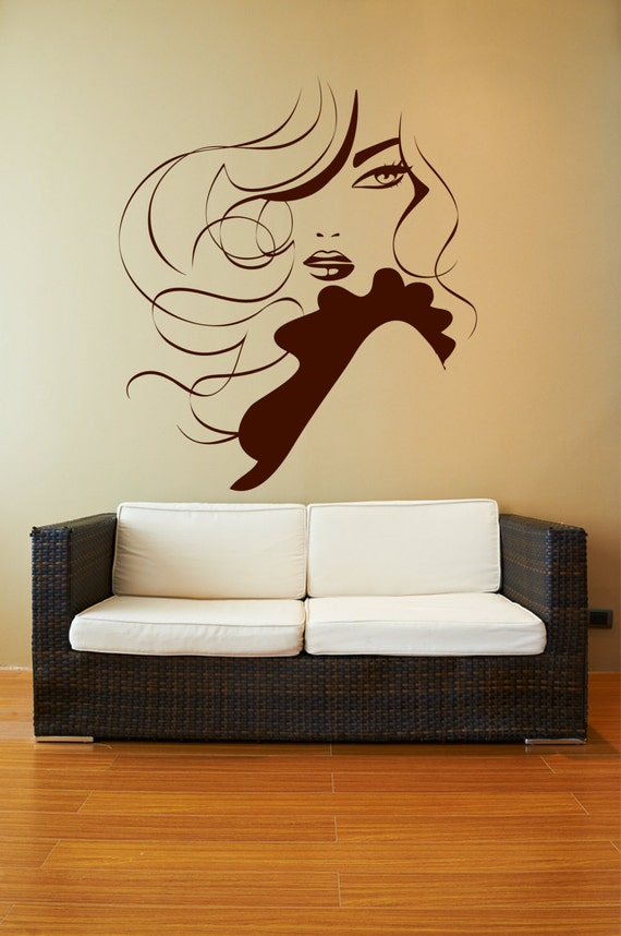 Items similar to elegant lady wavy hair ruffles removable for Spa wall decor