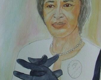 """Water Color Portrait of  """"Rosa Parks"""""""