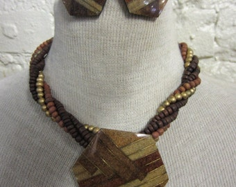 70s Lee Sands Hawaiian Designer Statement Necklace and Earring Set Stone Inlay