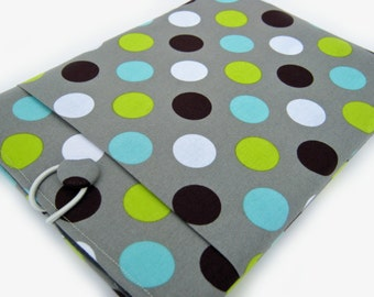 Macbook Pro Sleeve, Macbook Pro Cover, 15 inch Macbook Pro Cover, 15 inch Macbook Pro Case, Laptop Sleeve, Green and Blue Polka Dots