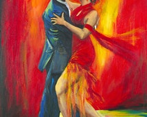 Tango dancers with a dramatic red background art print on paper , wall decor, wedding gift, print on paper