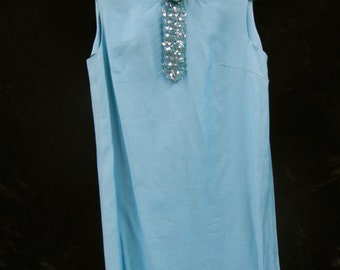 1960s Mod Retro Austin Powers dress aqua with sequin detail