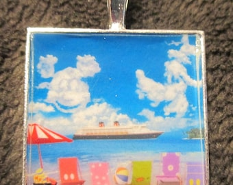 Disney Cruise Line Magic Ship Beach Chairs Mickey Goofy Clouds Silver Pendant Necklace WDW Fish Extender Gift