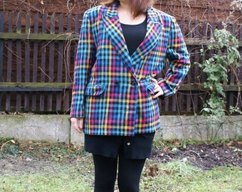 Long Colorful Checked Vintage Jacket  Hipster Coat  Wool 1980's 1990's