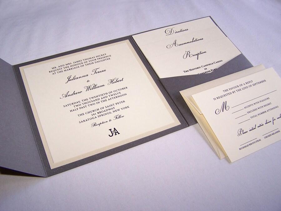 Fold Wedding Invitations: Grey Pocket Fold Wedding Invitation Thermography Wedding