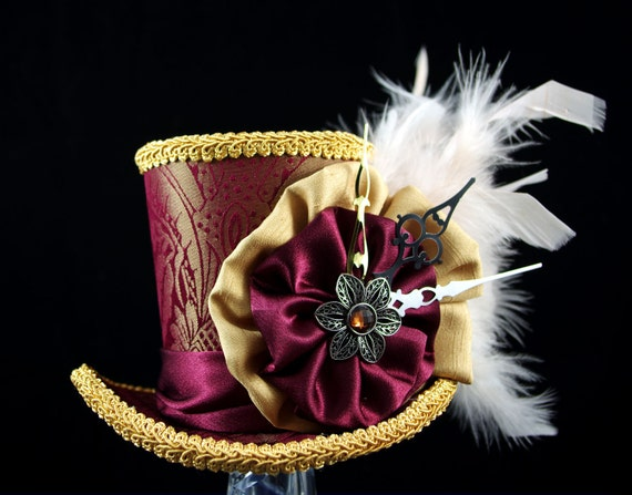 Burgundy and Gold Steampunk Large Mini Top Hat Fascinator, Alice in Wonderland, Mad Hatter Tea Party, Derby Hat