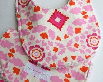 Bib and Burp Cloth Set - Pink Medallion