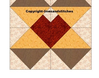 Hearts and Diamonds Paper Pieced Quilt Block Pattern (PDF)