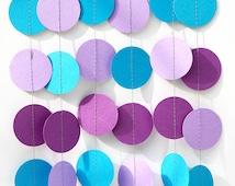 Mermaid party decoration - Purple, lilac, blue turquoise - Birthday decoration - Paper garland - Nursery - Kids room decor - Circles garland