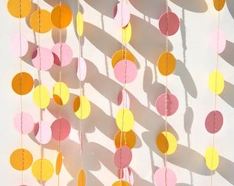 Birthday party decorations, Baby's First Birthday garland, Piink yellow garland, Baby shower, Paper garland, KC-1042