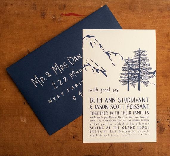 Mountain Wedding Invitation, Rustic Wedding Invitation, Woodland Wedding Invitation Navy Wedding Invitation rustic trees - Winter Wonderland