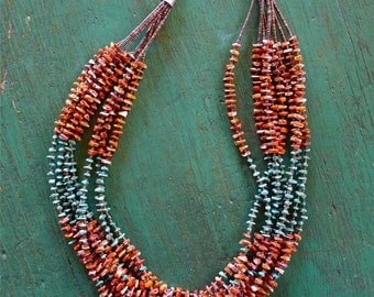 SALE Native Heishi necklace  turquoise, spiny oyster & olive shell- 8 strand- New Mexican -Vintage Santo Domingo Pueblo 25""