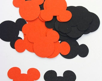 100 Black & Orange Halloween Mickey Mouse Confetti, Die Cuts, Mickey Mouse Halloween, Party, Supplies, Fall Confetti, Mickey Mouse