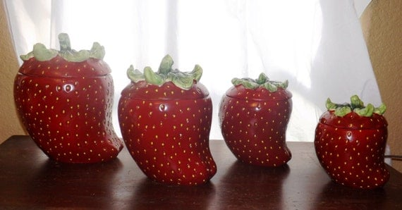 Strawberry Canisters Strawberry Canister Set Ceramic Strawberries Strawberry Kitchen Decor Coffee Sugar Flour KMC