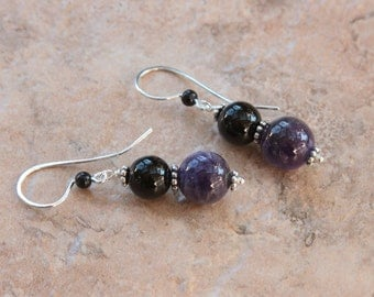 Cape Amethyst, Onyx, Sterling Silver Earrings