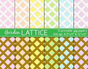 lattice digital paper, spring, easter, brown and white lattice garden digital paper, scapbooking supplies DIGITAL DOWNLOAD DP-133