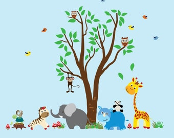 Tree WALL DECAL, Jungle Wall Decal, Kids Tree Decal, Jungle Animals Decal Reusable - N100