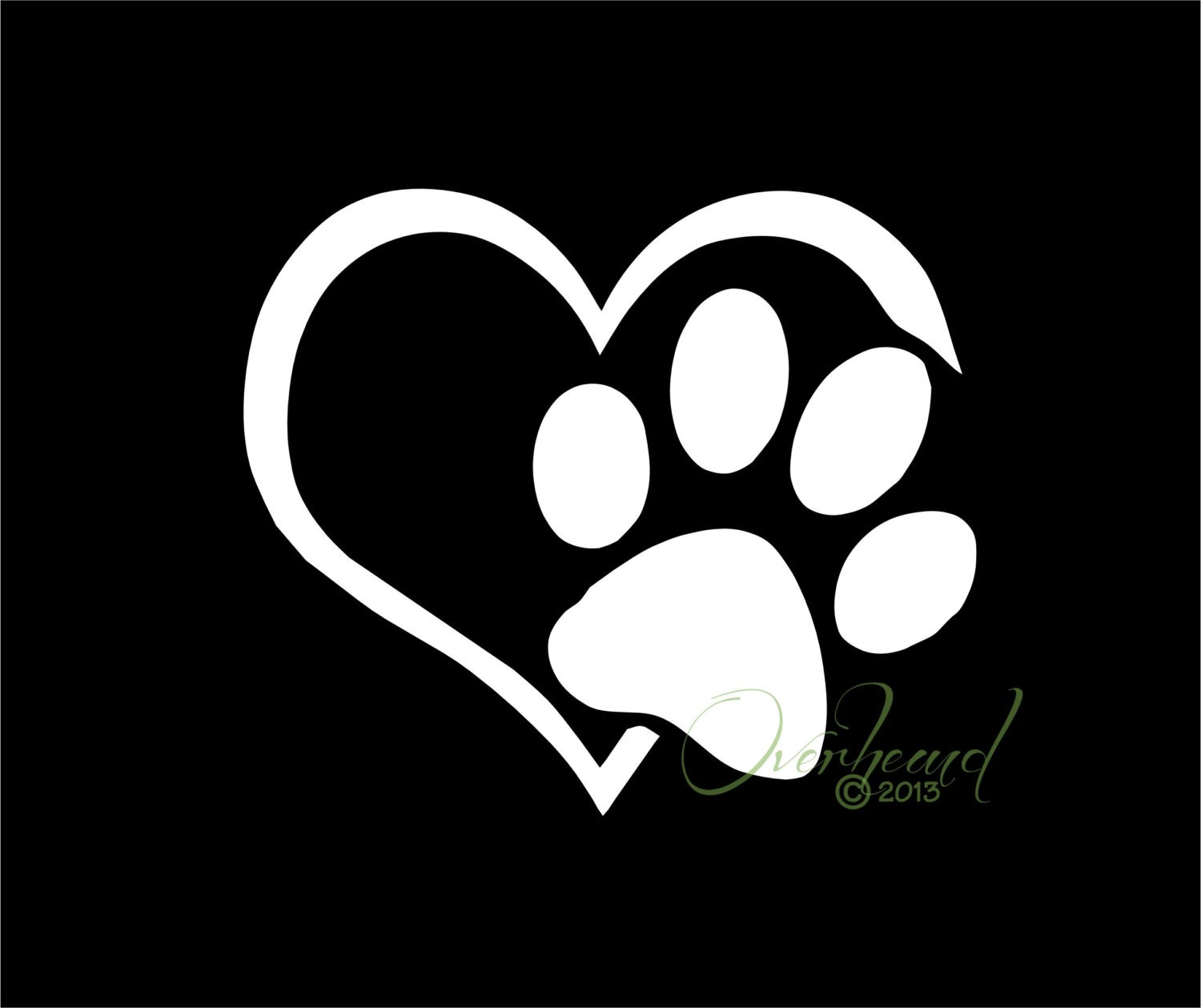Paw with Heart I love my Dog Pet Window Vinyl Car by Overhemd