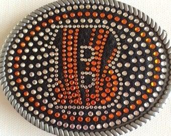 Show your Bengals spirit!  Fun & Unique Belt Buckle.  Made with rhinestones