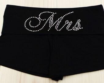 Mrs fold over waist shorts. Bride. Bride to be. Bridesmaid. Team Bride. Bridal Party. Bride Gift.