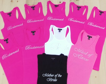 10 Bridesmaid Tank Top. Team Bride . Just Married. Wedding Bridal Party. Bachelorette Party. Maid of Honor.