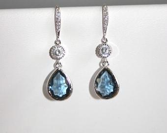 Sparkling Montana blue teardrop earrings