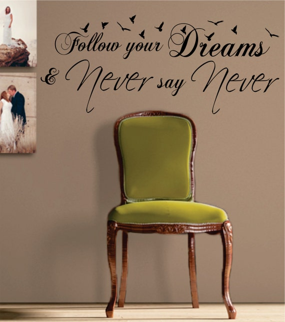 Follow Your Dreams Arrow Black Wall Quote Decal