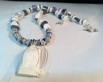 Moonstone, Kyanite and Crystal Necklace/ Moonstone Necklace/ Statement Necklace