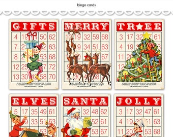 "Digital Christmas Bingo Cards/ Santa and his Elves / 5"" by 7"" and 3.5"" by 5"" / downloadable / printable"