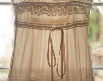 Beige Antique Lace Embellished Slip Dress