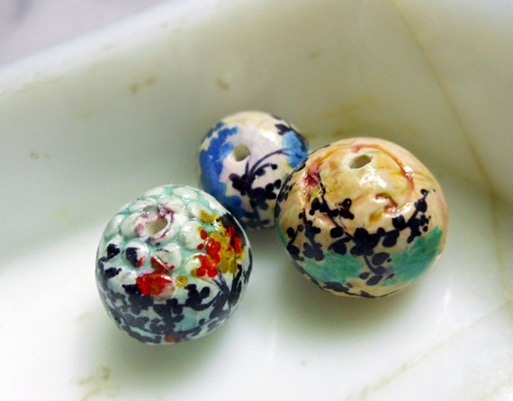 RESERVED - 2 Lots Polymer Clay Beads - 3 Rustic Illustrated Floral Beads plus 8 Glazed Beads - Leafy Branches & Colorful Flowers