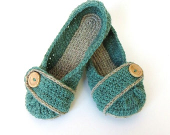 MADE TO ORDER Crochet House Slippers Womens Crochet Slippers Green and Grey Wool with Buttons Tab for Women