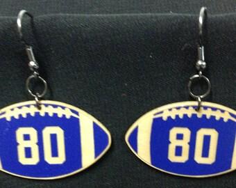 Custom Football Jersey Number Earrings Multiple Colors
