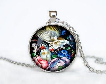 Zhostovo pendant Russian folk necklace Zhostovo Russian folk jewelry