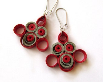 Red Grey Paper Quilling Earrings, Quilled Paper Earrings, Statement Jewelry, Quilled jewelry