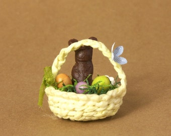 Yellow Miniature Easter Basket for Your Dollhouse
