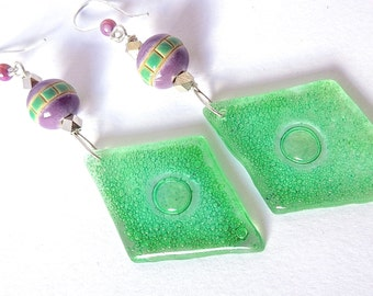 GREEN GLASS  by Cuorerosso Apple green glass earrings, ceramic beads, green and lilac, puprple, violet, fine silver