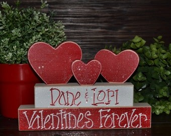 Valentine's Day Decor Personalized Wood Heart Block Love Set personalized home decor primitive gift holiday personalized valentine's decor