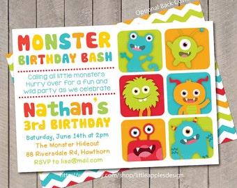 Little Monster Invitation / Monster Invite / Monster Invitation / Little Monster Invite / Little Monster Birthday / Little Monster Printabl