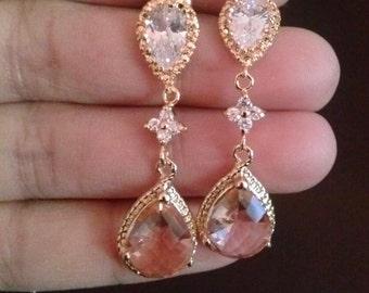 925 sterling silver, chempagne gold earrings,peach earrings,tear drop bridal gold earrings,cuboc zirconia earrings