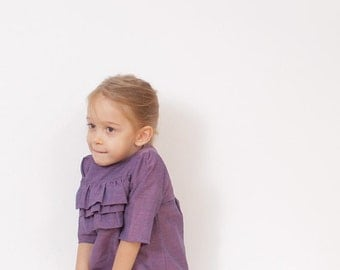 Lilly ruffle BLOUSE pattern - girls tunic patterns - children sewing patterns - sizes from 3 to 8 years