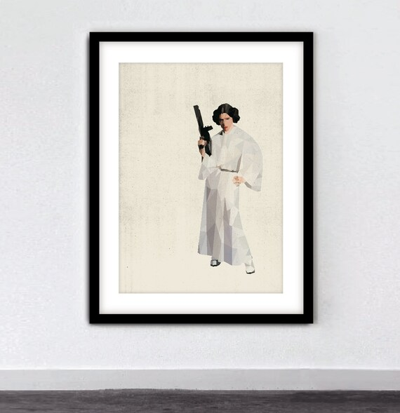 "Printable Art Star Wars Poster ""Princess Leia"" Science Fiction Poster Star Wars Party Print Decor Star Wars Art Geometric Print Sci Fi Art"