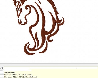 TRIBAL HORSE HEAD ~ Machine Embroidery Design - 2 Sizes - Instant Download