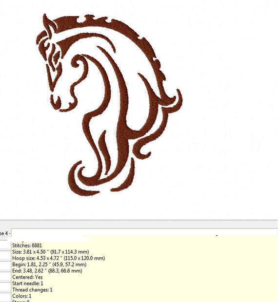 TRIBAL HORSE HEAD Machine Embroidery Design 2 By TedandFriends