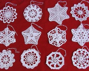 New 12 Crochet Snowflakes Ornaments