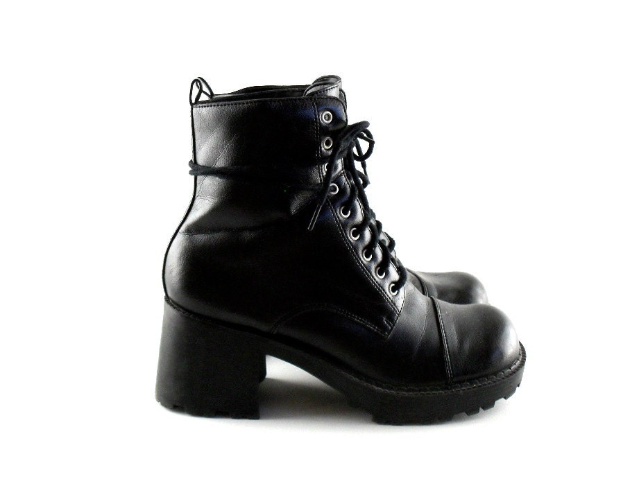 90s combat boots 7 vegan heeled 90s boots by