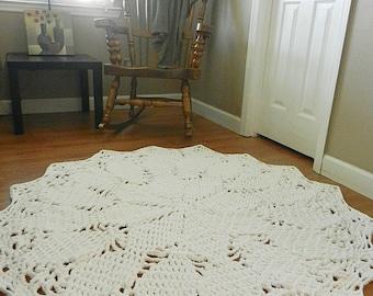 Giant Crochet Doily Rug- White Rug- Large area rug- Round Rug, Cottage Chic- Oversized- lace, rustic rug boho Chic Rug