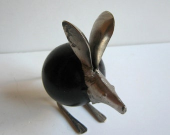 vintage hand made metallic mouse figurine