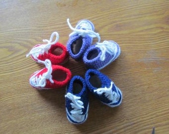 Hand Crocheted Baby Converse Tennis Shoes - READY TO SHIP